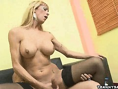 Horny Stud Gets Fucked Anally By A Blonde Shemale