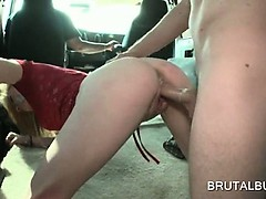 Cute blonde amateur gets fucked doggy style in the sex bus