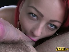Tattooed redhead fucked for a free fare