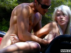 nasty blonde sucks big white cock part2
