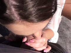 Cute amateur brunette teen Foxy Di anal fucked in public