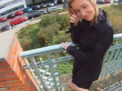 Fucking Glasses - Blonde cutie tricked into outdoor sex