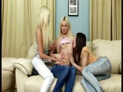 Lesbian slut teaching teen babes how to kiss finger and lick to please eachother