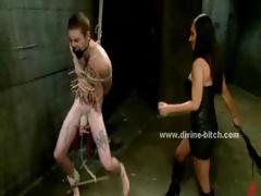 Crazy beautifull brunette mistress teaching male slave the manners in bdsm femdom sex video