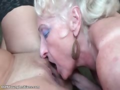 Horny Old Blonde And Busty Lesbian Part1