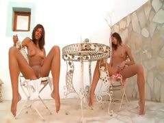 Two russian cheerleaders naked outdoor