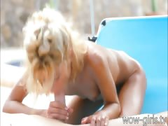 Slender Stephanie outdoor sex and facial