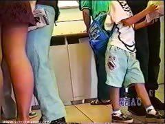 Subway Underwear Wearing Short Skirts
